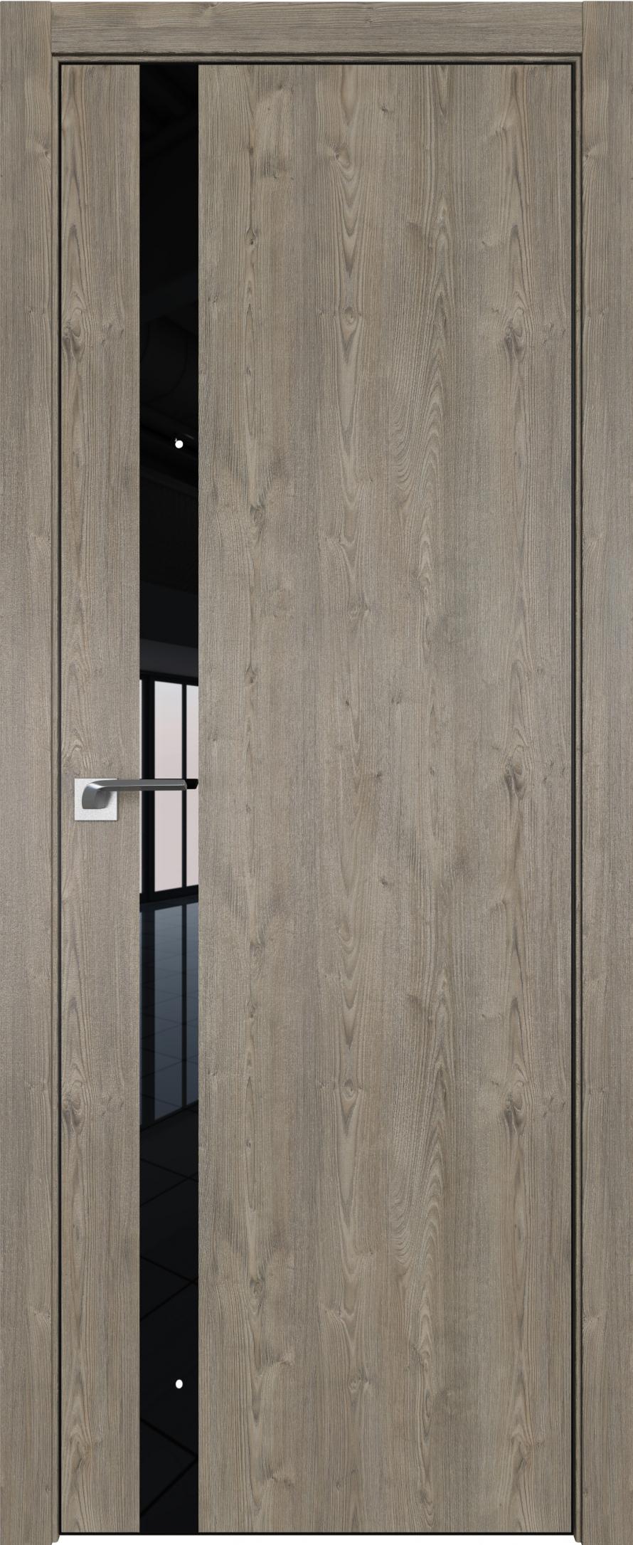 Межкомнатная дверь ProfilDoors 6ZN Каштан темный стекло черное