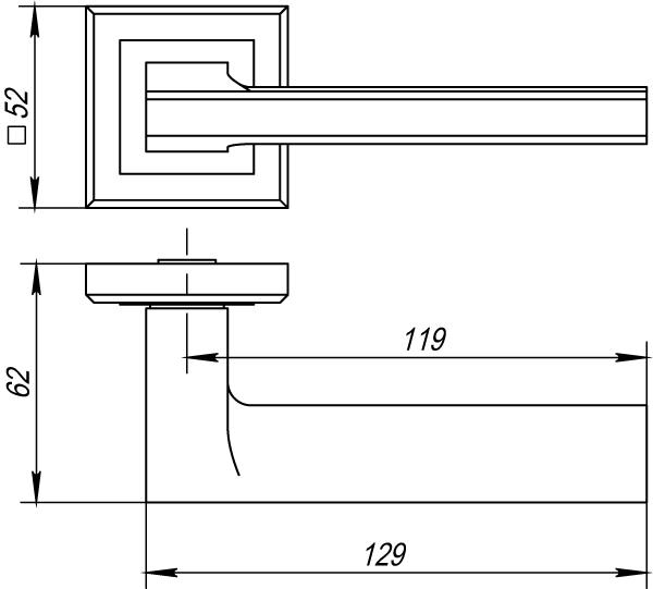 Дверная ручка раздельная Punto BLADE QL SN/CP-3 матовый никель/хром