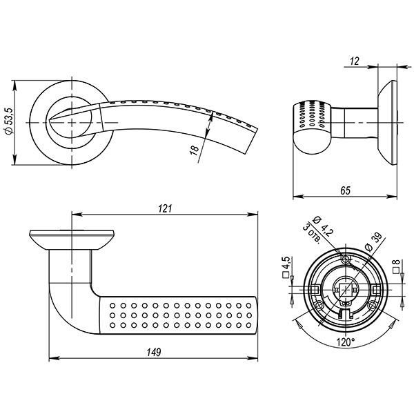 Дверная ручка раздельная Punto LOGICA TL SN/CP-3 матовый никель/хром XL