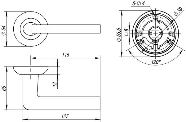 Дверная ручка раздельная Punto REX TL SN/CP-3 матовый никель/хром 105 мм