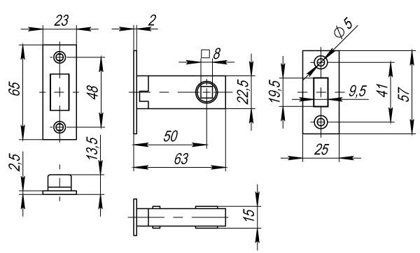 Защелка врезная Fuaro Magnet M12-50-25 GP латунь