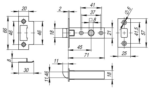 Защелка врезная Fuaro Plastic P12-45-25 AC медь