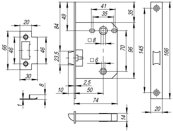 Защелка врезная Fuaro Plastic P72-50 AC медь