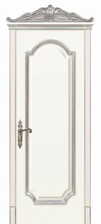 Межкомнатная дверь Дариано Женева F Эмаль белое серебро глухая