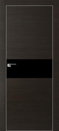 Межкомнатная дверь ПрофильДорс 4Z кромка хром цвет Венге кроскут стекло черный глянец