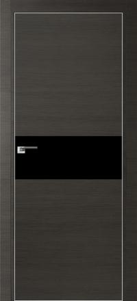 Межкомнатная дверь ПрофильДорс 4Z кромка хром цвет Грей кроскут стекло черный глянец