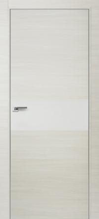 Межкомнатная дверь ПрофильДорс 4Z кромка хром цвет Эш вайт кроскут стекло белый глянец