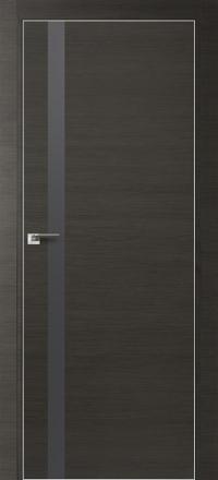 Межкомнатная дверь ПрофильДорс 6Z кромка хром цвет Грей кроскут стекло серебро матовый лак
