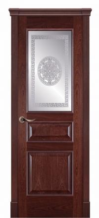 Межкомнатная дверь Дариано Чикаго Красное дерево со стеклом