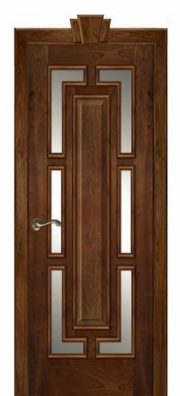 Межкомнатная дверь Дариано Барон Красное дерево со стеклом