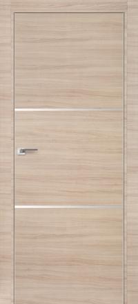 Межкомнатная дверь ПрофильДорс 2Z кромка хром цвет Капучино кроскут с алюминиевыми вставками