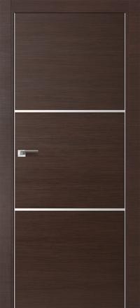 Межкомнатная дверь ПрофильДорс 2Z кромка хром цвет Венге кроскут с алюминиевыми вставками