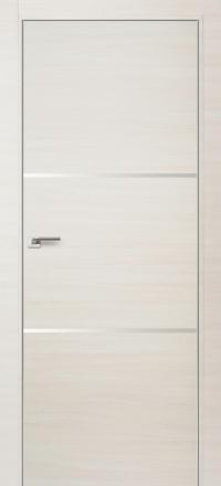 Межкомнатная дверь ПрофильДорс 2Z кромка хром цвет Эш вайт кроскут с алюминиевыми вставками