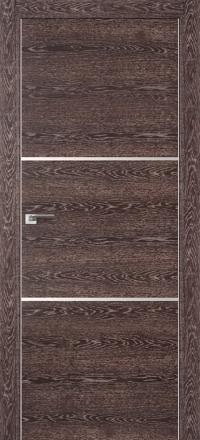 Межкомнатная дверь ПрофильДорс 2Z кромка хром цвет Дуб тронскайс темный с алюминиевыми вставками