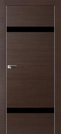 Межкомнатная дверь ПрофильДорс 3Z кромка хром цвет Венге кроскут стекло черный глянец