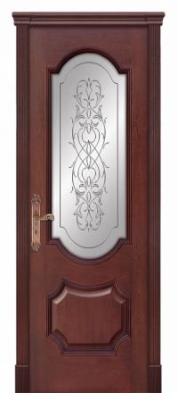 Межкомнатная дверь Дариано Женева Красное дерево со стеклом