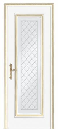 Межкомнатная дверь Дариано Родос Эмаль белая патина золото со стеклом
