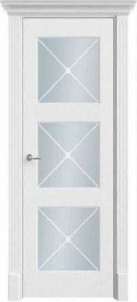Межкомнатная дверь Офрам Прима-33Ф белая остекленная