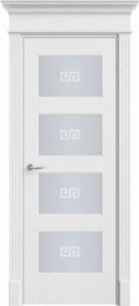 Межкомнатная дверь Офрам Прима-42 белая остекленная