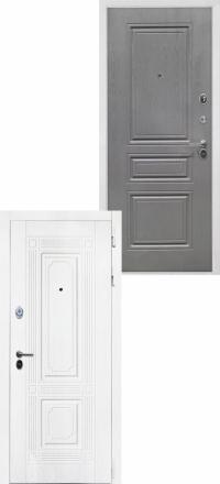 Стальная входная дверь Интекрон Брайтон белая ФЛ-243-м Графит вуд дуб