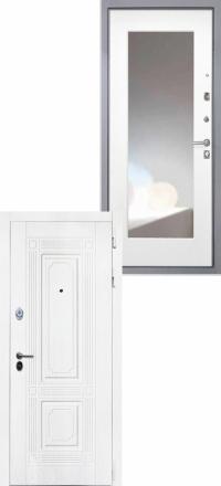Стальная входная дверь Интекрон Брайтон белая Зеркало ФЛЗ-М белая матовая