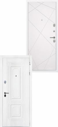 Стальная входная дверь Интекрон Брайтон белая Лучи софт милк