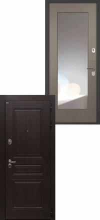 Стальная входная дверь Интекрон Брайтон Тиковое дерево Зеркало ФЛЗ-М силк муссон
