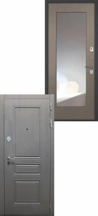 Стальная входная дверь Интекрон Брайтон Зеркало ФЛЗ-М силк муссон
