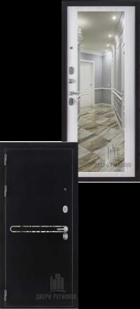 Металлическая входная дверь Regidoors Президент S1Z антик графит с блестками-сандал белый с зеркалом