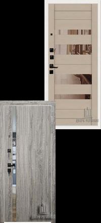 Металлическая входная дверь Regidoors Tesla Грей Софт — Ясень капучино софт с зеркалом