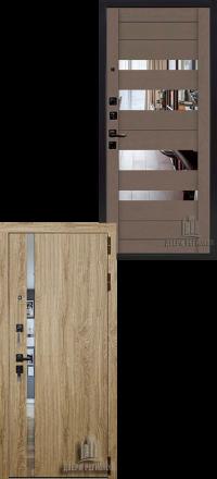 Металлическая входная дверь Regidoors Tesla Софт LW — Ясень грей с зеркалом графит