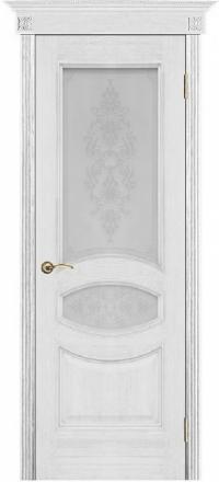 Межкомнатная дверь Porte Vista Классика Ницца серебряная патина со стеклом