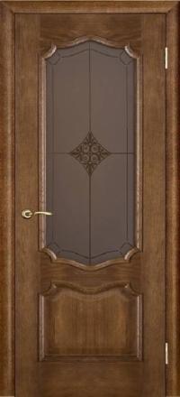Межкомнатная дверь Porte Vista Классика Премьера каштан со стеклом ромб