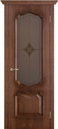 Межкомнатная дверь Porte Vista Классика Премьера патина голд со стеклом ромб