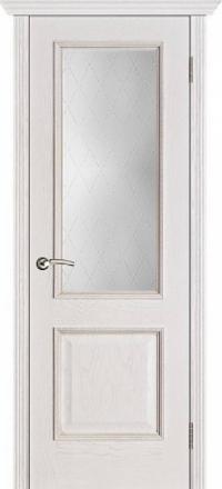 Межкомнатная дверь Porte Vista Классика Шервуд белая патина со стеклом классик