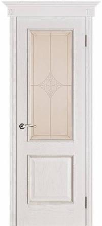 Межкомнатная дверь Porte Vista Классика Шервуд белая патина со стеклом ромб
