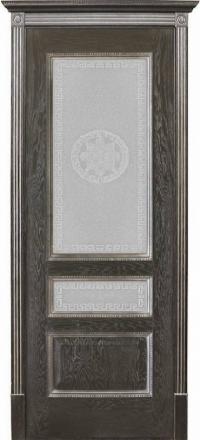 Межкомнатная дверь Porte Vista Классика Вена черная патина со стеклом версачи