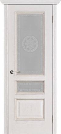 Межкомнатная дверь Porte Vista Классика Вена белая патина со стеклом версачи