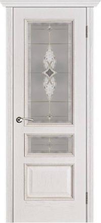Межкомнатная дверь Porte Vista Классика Вена белая патина со стеклом витраж