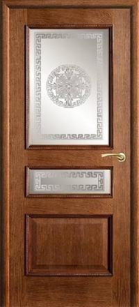 Межкомнатная дверь Porte Vista Классика Вена античный дуб со стеклом версачи