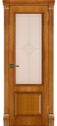Межкомнатная дверь Regidoors Grang Гранд-1 Patina Antico со стеклом Ромб бронза
