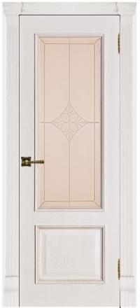 Межкомнатная дверь Regidoors Grang Гранд-1 Patina Bianco со стеклом Ромб бронза