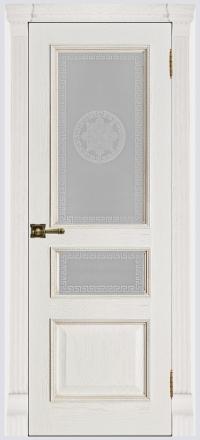 Межкомнатная дверь Regidoors Grang Гранд-2 Patina Bianco со стеклом Версаче