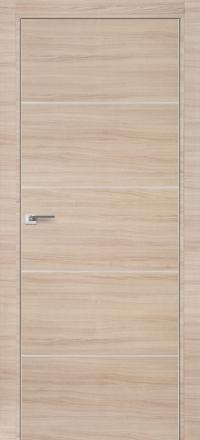 Межкомнатная дверь ПрофильДорс 7Z кромка хром цвет Капучино кроскут алюминиевый молдинг