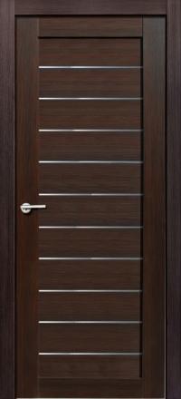 Межкомнатная дверь Porta Bella Nano Шпон Тефея шоколад остекленная