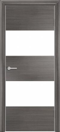 Межкомнатная дверь Содружество экошпон Q-3 Серый стекло лакобель белое