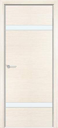 Межкомнатная дверь Содружество экошпон Q-4 Беленый дуб стекло лакобель белое