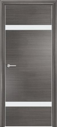 Межкомнатная дверь Содружество экошпон Q-4 Серый стекло лакобель белое