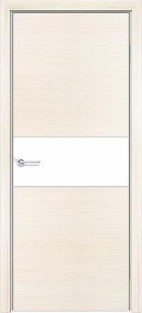 Межкомнатная дверь Содружество экошпон Q-5 Беленый дуб стекло лакобель белое