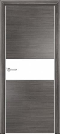 Межкомнатная дверь Содружество экошпон Q-5 Серый стекло лакобель белое